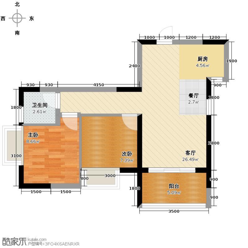 盛天国际57.76㎡1号楼户型2室1厅1卫