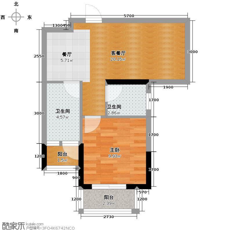 东方剑桥44.93㎡二期6号楼标准层E户型1室1厅1卫
