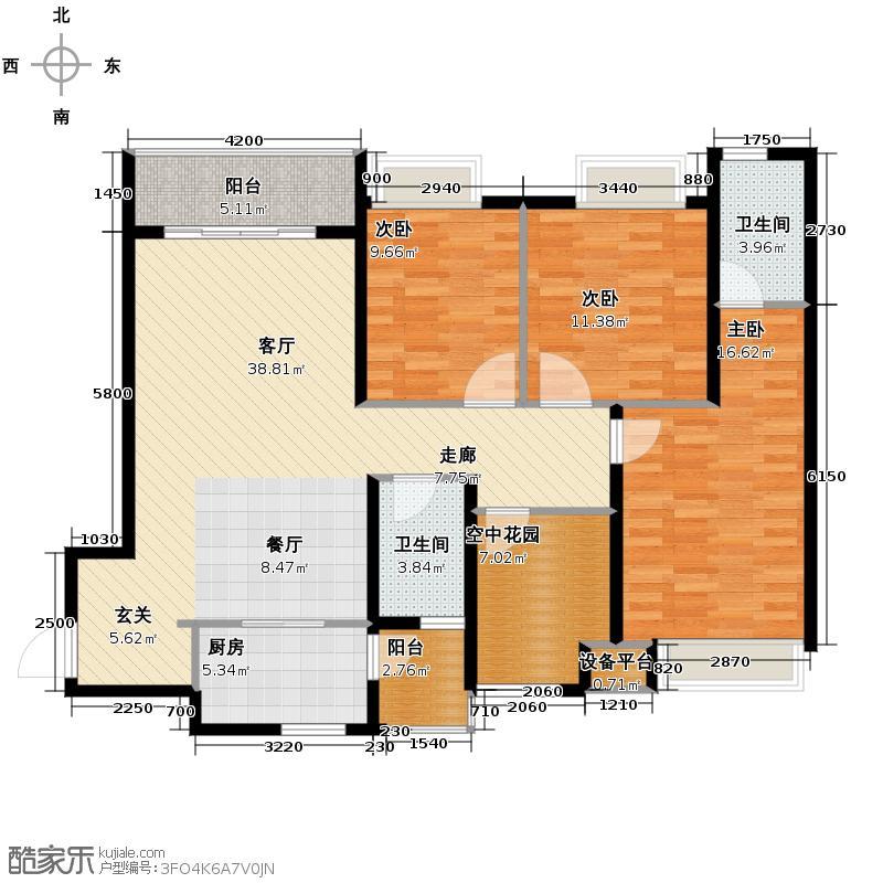 万博汇135.92㎡10B三阳台户型3室1厅2卫1厨
