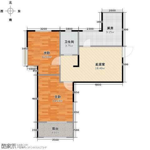 溪谷港湾2室0厅1卫1厨85.00㎡户型图