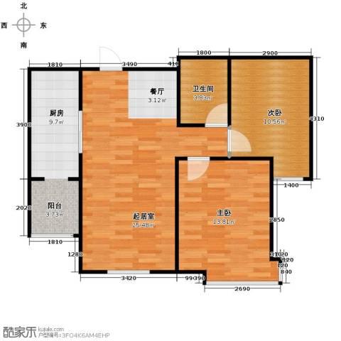 融创君澜2室2厅1卫0厨88.00㎡户型图