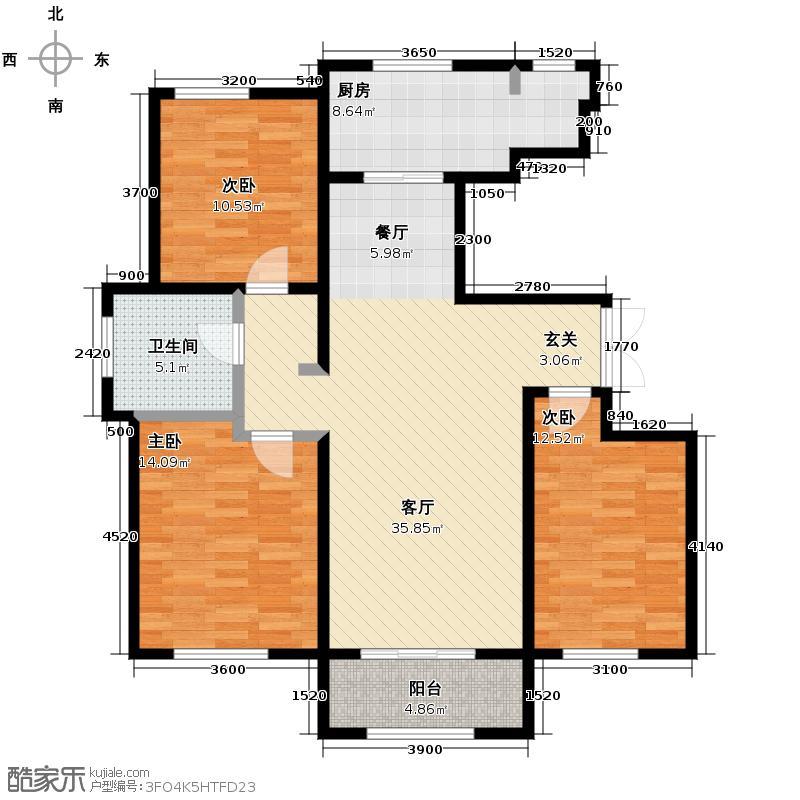 万通生态城新新家园133.93㎡二期A1b户型3室2厅1卫