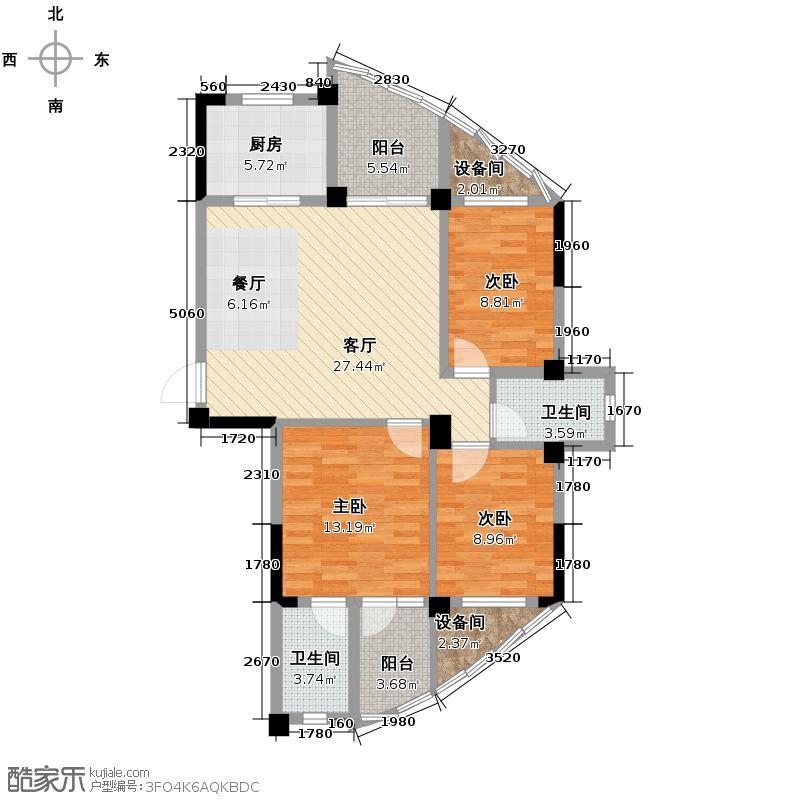 海悦天地113.00㎡C户型3室2厅2卫