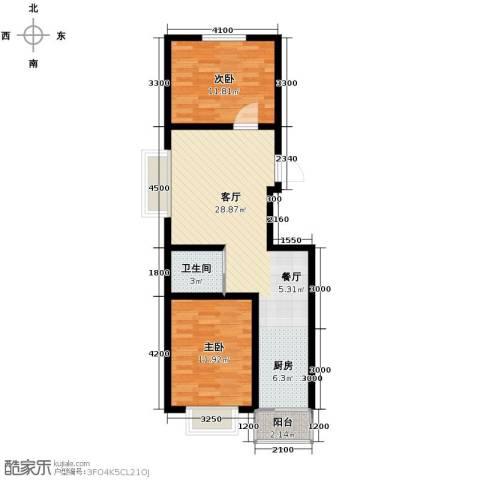 枫林逸景2室1厅1卫0厨82.00㎡户型图