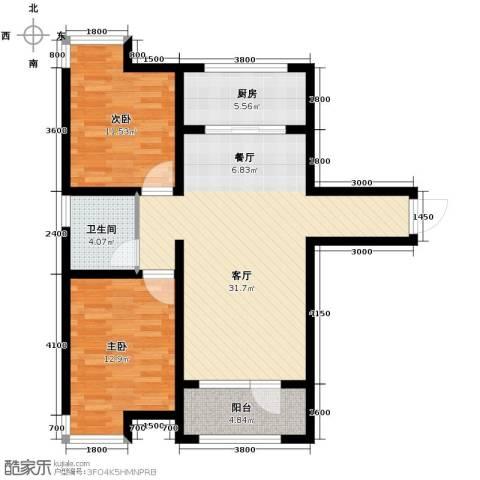融科贻锦台2室2厅1卫0厨104.00㎡户型图
