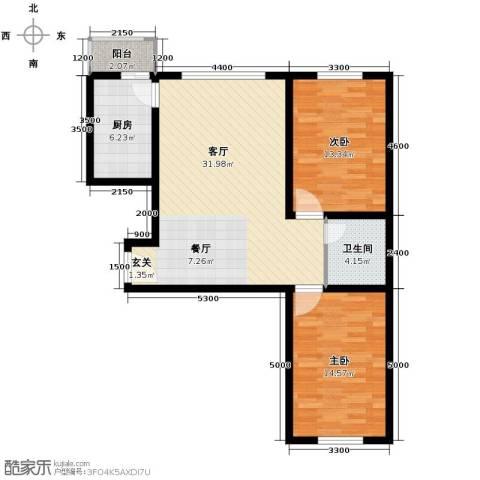 枫林逸景2室1厅1卫1厨102.00㎡户型图