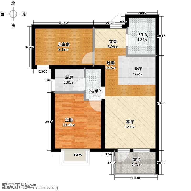 金隅・观澜时代85.00㎡G12户型2室2厅1卫