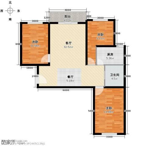 枫林逸景3室1厅1卫1厨114.00㎡户型图