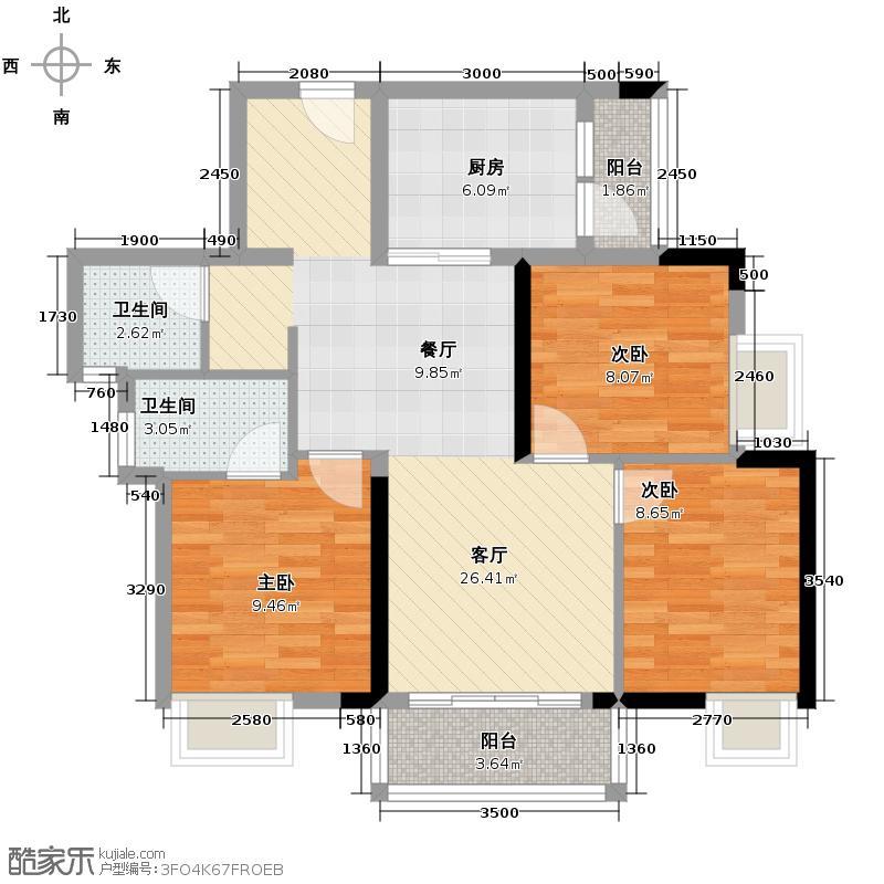 水韵翔庭96.90㎡B栋标准层01东南朝向户型3室2厅2卫