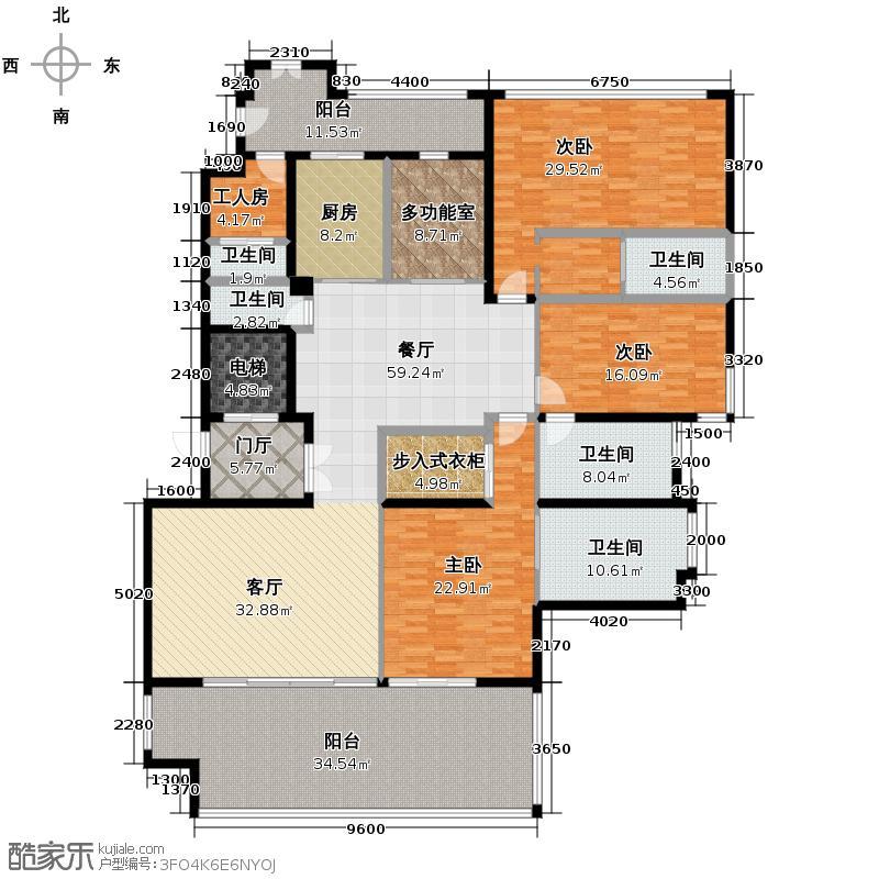新天半山271.23㎡空中瞰景园馆D1栋11、12层01单元户型4室2厅5卫