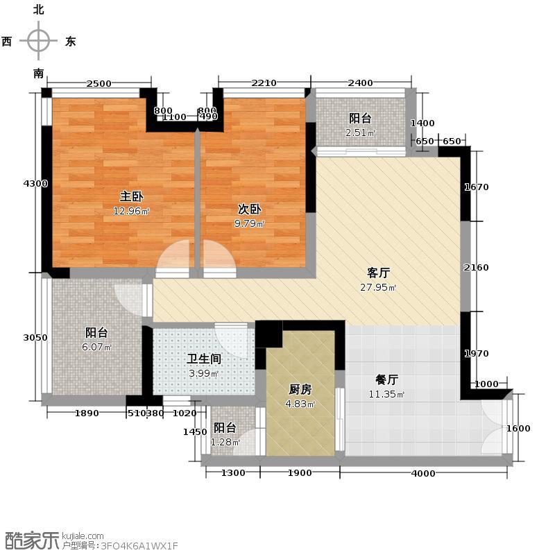 华宇金沙时代70.77㎡三期1011号楼3-32层2单元3号房2室户型2室1厅1卫1厨