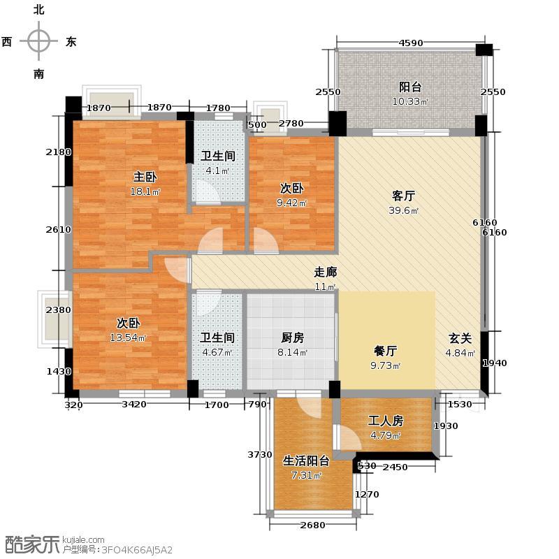 豪利花园142.94㎡祥云阁2-11层C04户型10室