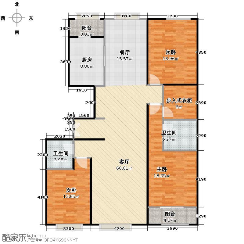 西山壹号院178.00㎡K户型3室2厅2卫