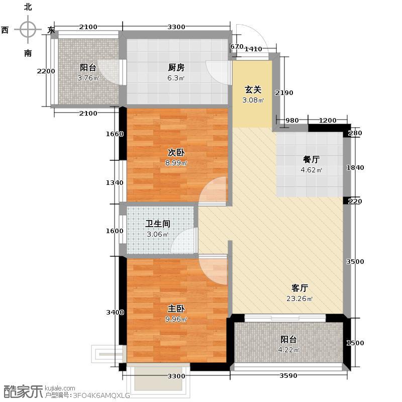 保利心语76.00㎡More系Z3户型2室2厅1卫