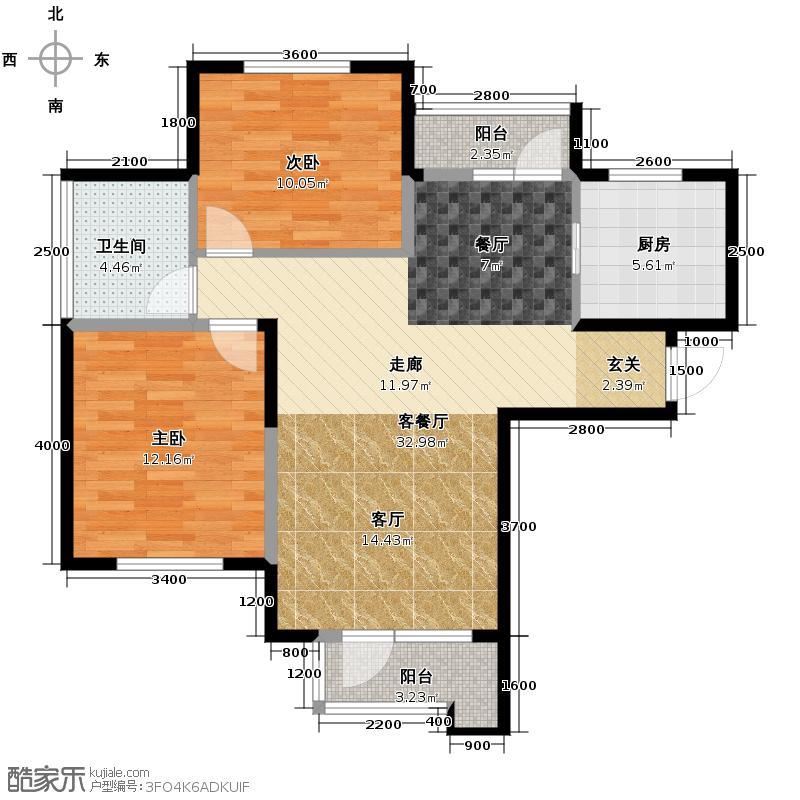 泽天下101.00㎡二期12、18号楼标准层C户型2室2厅1卫