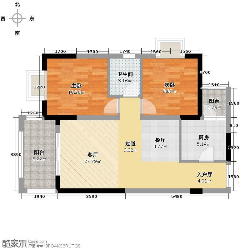 壹江城C调63.96㎡C调组团c1c2栋1/5号户型2室1厅1卫1厨