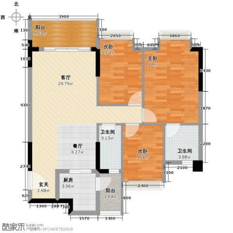 精英世家3室1厅2卫1厨111.00㎡户型图