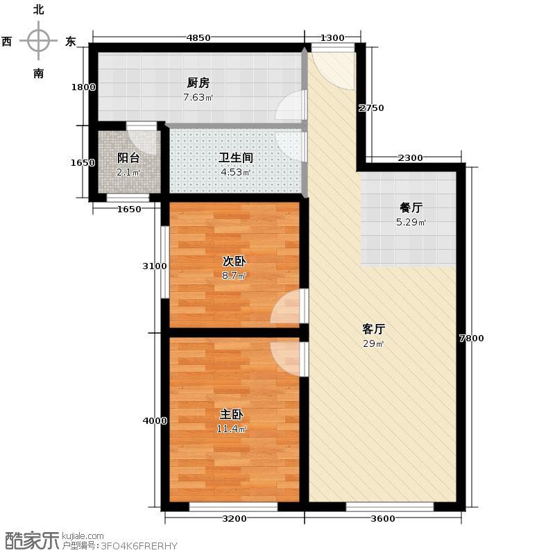 富力新城77.00㎡B-2户型2室2厅1卫