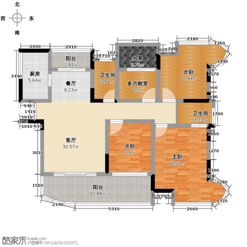 五矿万境水岸141.00㎡1栋C3-3户型4室2厅2卫