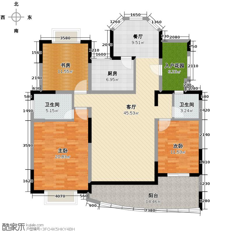 中建麓山和苑142.49㎡香榭居D2户型3室2厅2卫