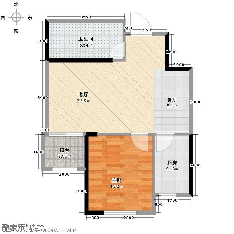 拉斐水岸58.00㎡玫瑰苑A1户型1室2厅1卫