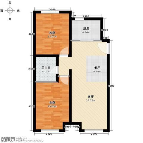 永定河孔雀城英国宫2室2厅2卫0厨69.89㎡户型图
