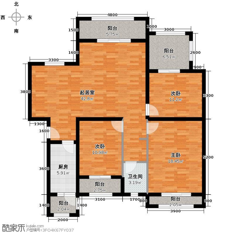 恒禾皇冠国际社区127.89㎡B5户型10室