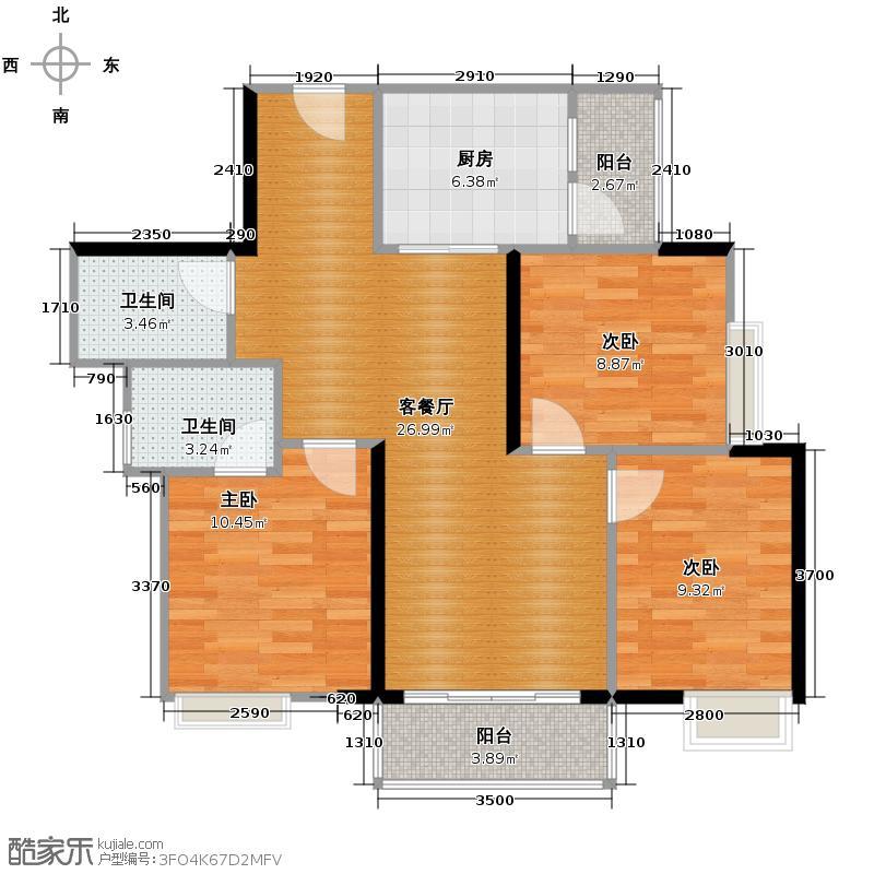 水韵翔庭96.90㎡B栋01户型3室2厅2卫