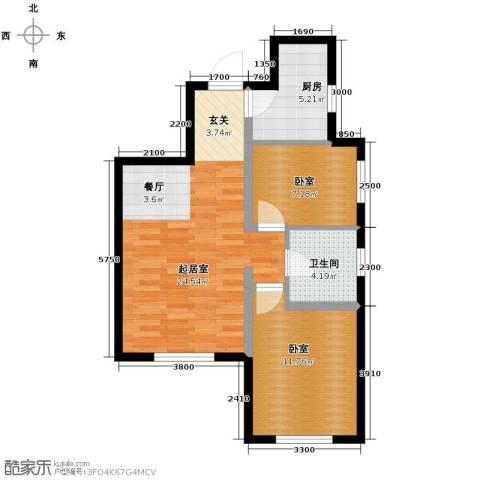 美震瑞景时代2室2厅1卫0厨76.00㎡户型图