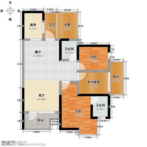 城市春天2室1厅2卫1厨95.00㎡户型图