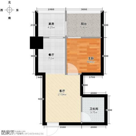 都市邻里1室1厅1卫1厨61.00㎡户型图