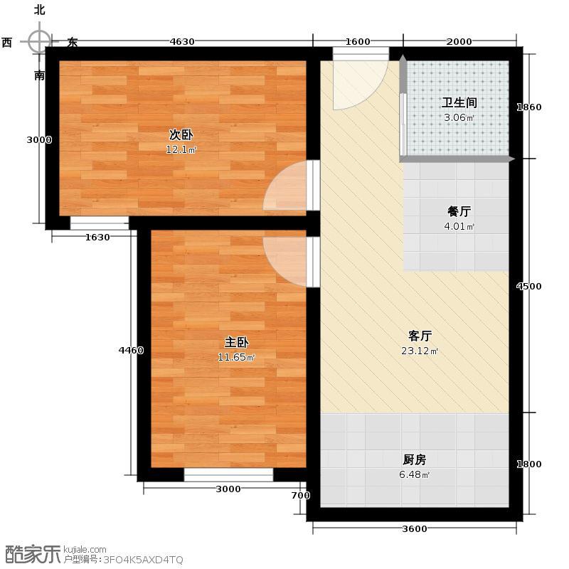 枫林逸景67.00㎡da户型2室1厅1卫