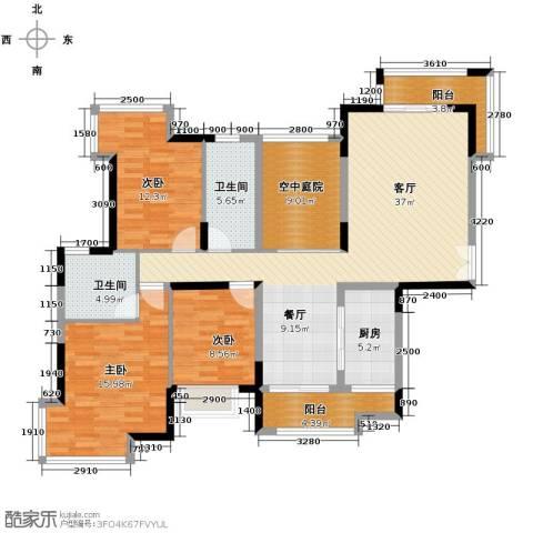 金域中央天玺3室1厅2卫1厨154.00㎡户型图