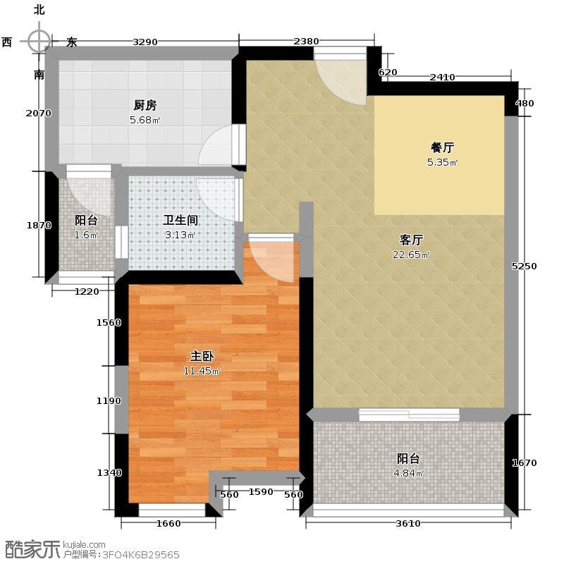 天合新界64.85㎡C3户型1室1厅1卫1厨