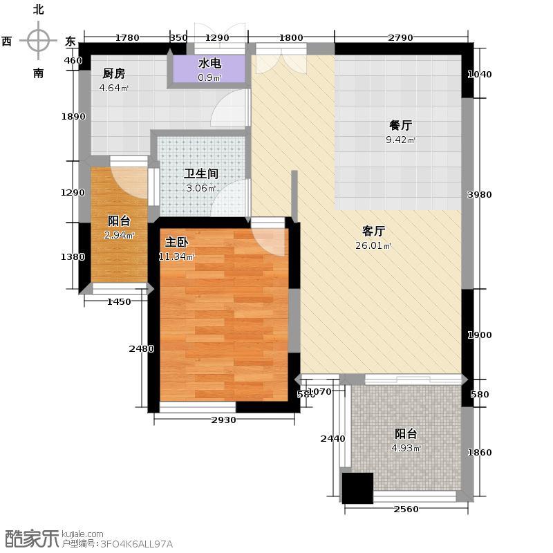 上海东韵68.25㎡J2户型1室1厅1卫1厨