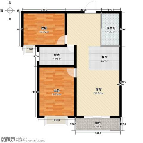 枫林逸景2室1厅1卫1厨96.00㎡户型图
