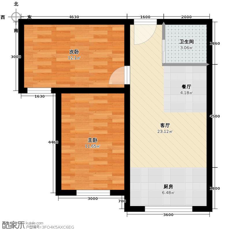 枫林逸景56.63㎡DA-户型2室1厅1卫