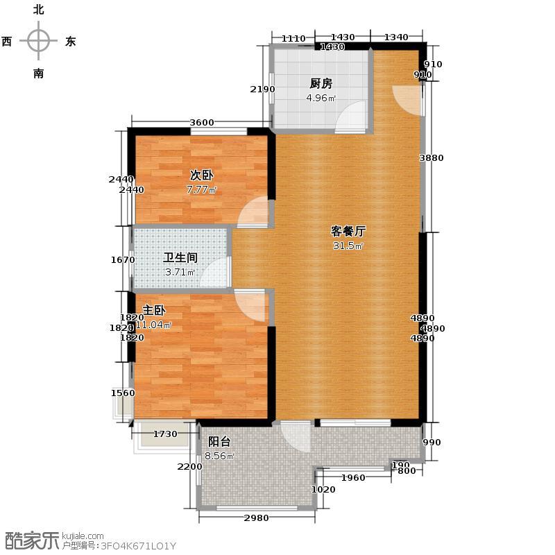 沿海赛洛城74.18㎡19号楼1B7户型2室2厅1卫
