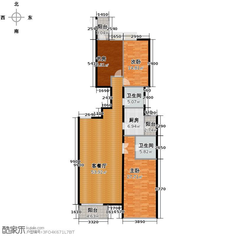 晓港名城175.00㎡户型3室1厅2卫1厨