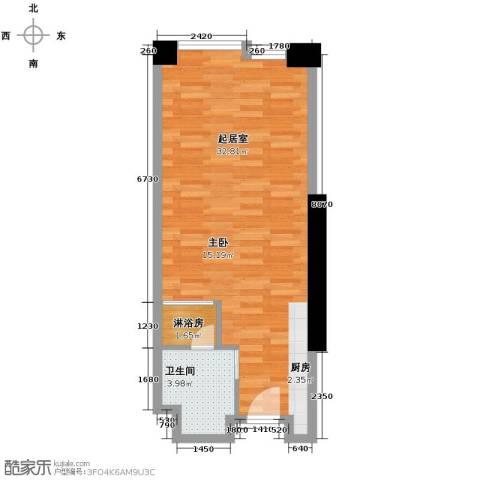 保利中汇广场1卫0厨54.00㎡户型图