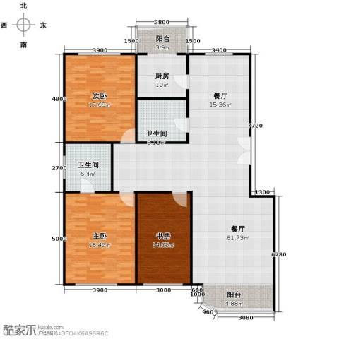 晨光国际花园3室1厅2卫1厨149.00㎡户型图