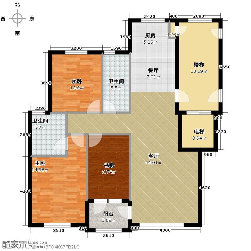 枫丹丽城120.00㎡户型3室2厅2卫