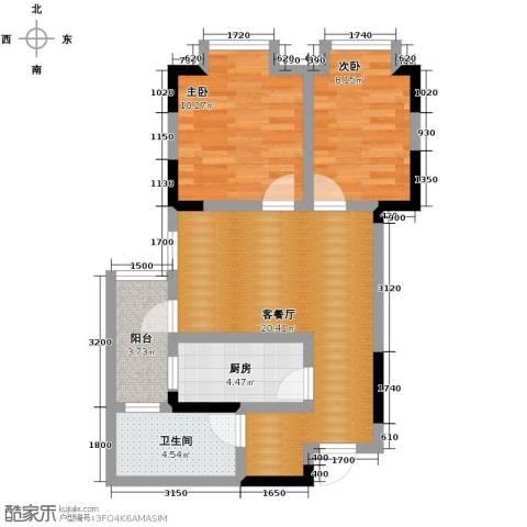 中御公馆2室2厅1卫0厨67.00㎡户型图