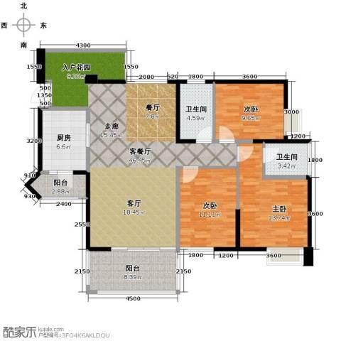 礼顿山1号3室1厅2卫1厨124.00㎡户型图
