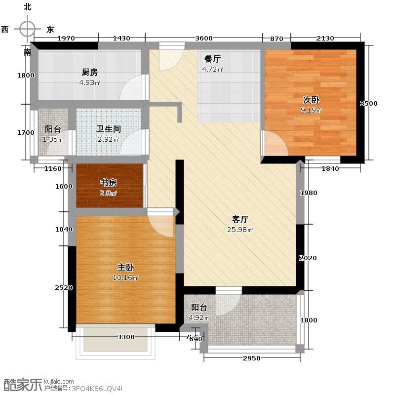 名流公馆89.00㎡B1户型3室2厅1卫