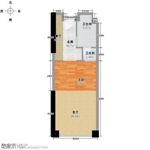 保利中汇广场2卫0厨60.00㎡户型图