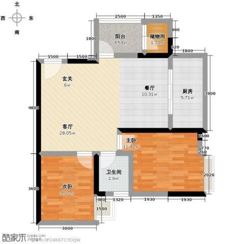 华府枫景2室1厅1卫1厨83.00㎡户型图