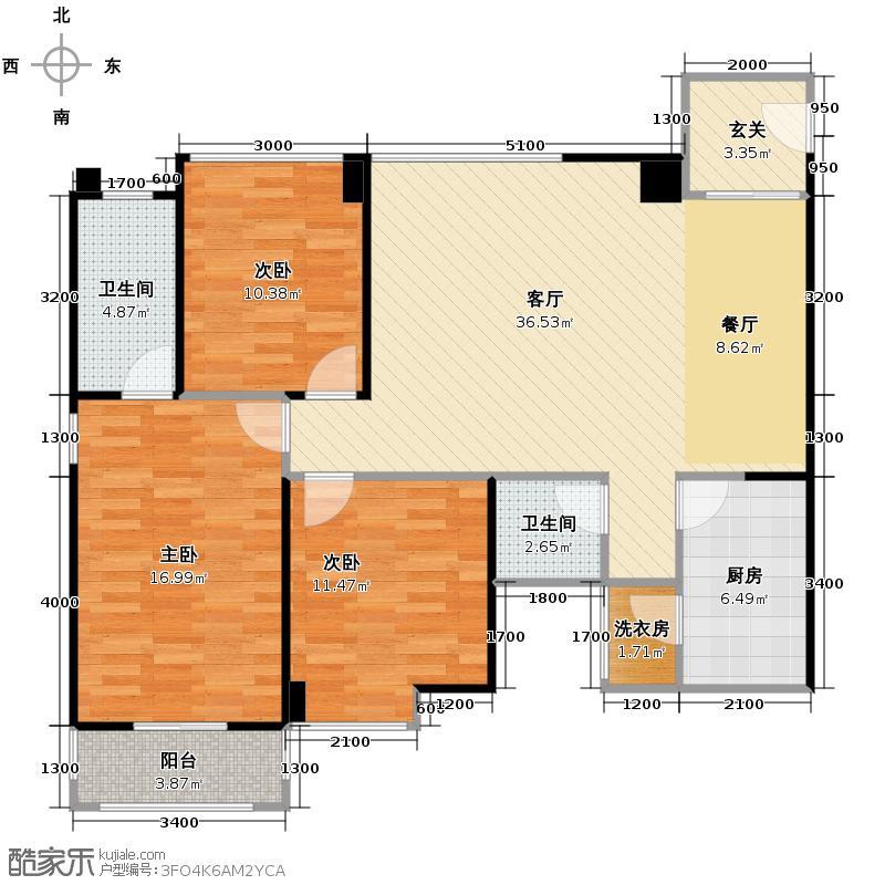华侨城原岸114.13㎡123#D2双卫户型3室2厅1卫