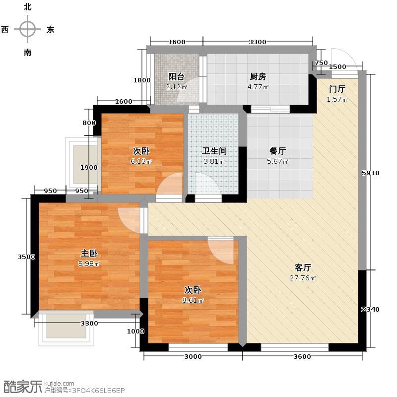 首信首御79.00㎡1、4、5、6、7、8、9号楼C1户型3室1厅1卫1厨