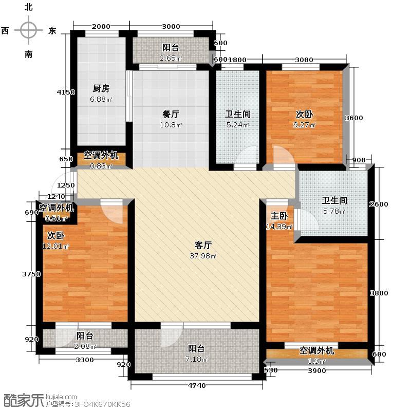 书香名苑133.00㎡D户型3室2厅2卫